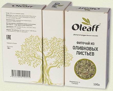 Упаковки оливкового чая Oleaff